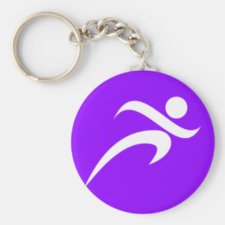 Violet Purple Running Basic Round Button Key Ring