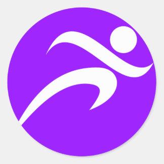 Violet Purple Running Classic Round Sticker