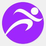 Violet Purple Running Round Sticker