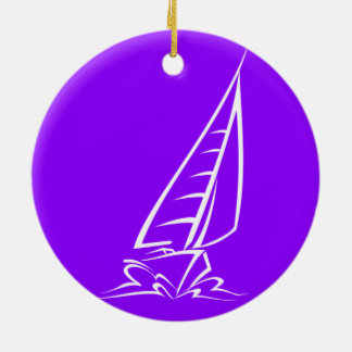 Violet Purple Sailing Christmas Ornament