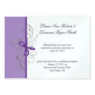 Violet Purple Silver Swirls White Post Wedding Card