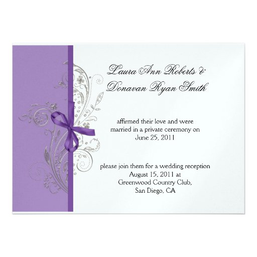 Violet Purple Silver Swirls White Post Wedding Personalized Invite
