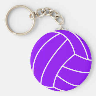Violet Purple Volleyball Basic Round Button Key Ring