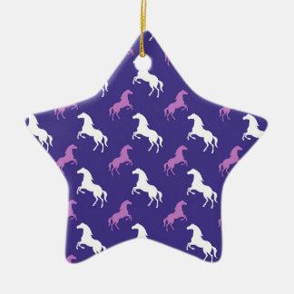Violet Purple & White Horse; Equestrian Ceramic Star Decoration