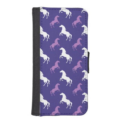 Violet Purple & White Horse; Equestrian Iphone Se/5/5s Wallet Case