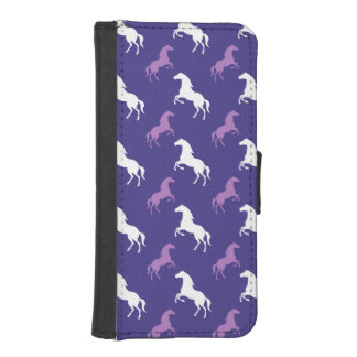Violet Purple & White Horse; Equestrian iPhone SE/5/5s Wallet Case