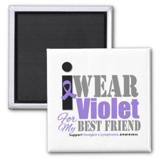 Violet Ribbon Best Friend - Hodgkin's Lymphoma Square Magnet