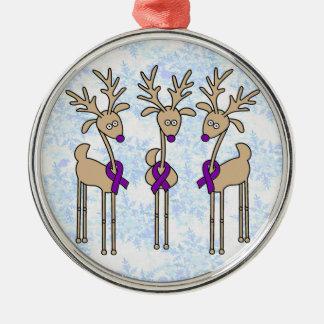 Violet Ribbon Reindeer (Hodgkin's Lymphoma) Christmas Ornament