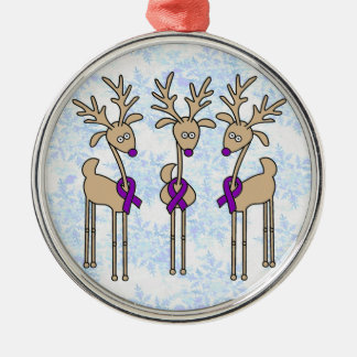 Violet Ribbon Reindeer (Hodgkin's Lymphoma) Silver-Colored Round Decoration