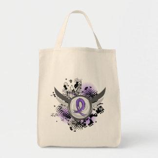 Violet Ribbon Wings Hodgkin's Lymphoma Grocery Tote Bag