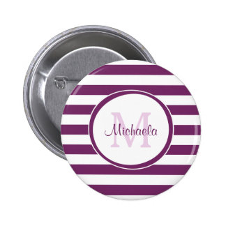 Violet Rugby Stripes With Chic Monogram and Name 6 Cm Round Badge