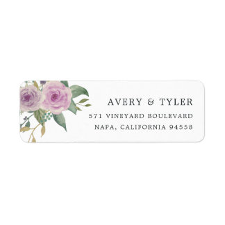 Violet & Sage Floral Return Address Return Address Label