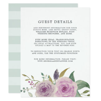Violet & Sage Wedding Guest Details Card