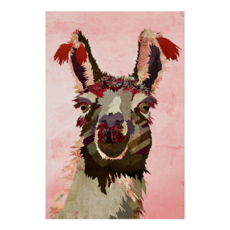 Violet Shabby Llama Art Poster