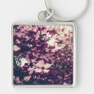 Violet Silver-Colored Square Key Ring