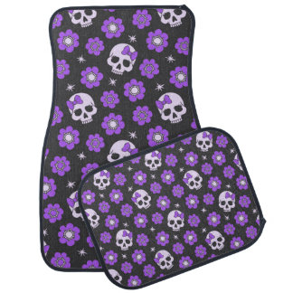 Violet Skulls and Flowers Car Mat
