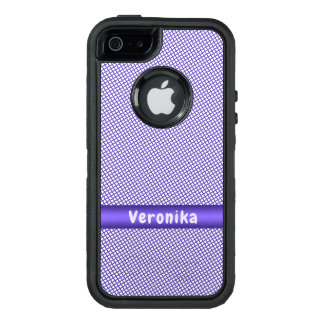 Violet small plaid pattern. OtterBox defender iPhone case