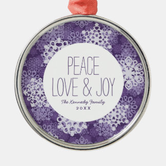 Violet Snowflakes Pattern Silver-Colored Round Decoration