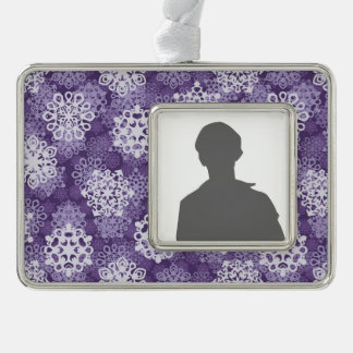 Violet Snowflakes Pattern Silver Plated Framed Ornament