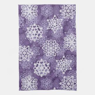 Violet Snowflakes Pattern Tea Towel