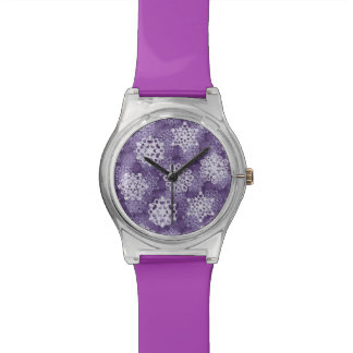 Violet Snowflakes Pattern Wristwatch