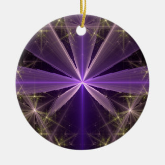 Violet Star Flower Abstract Fractal Christmas Ornament