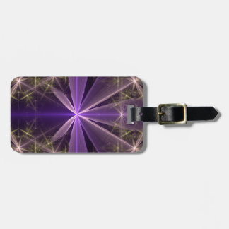 Violet Star Flower Abstract Fractal Luggage Tag
