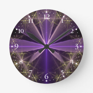 Violet Star Flower Abstract Fractal Round Clock