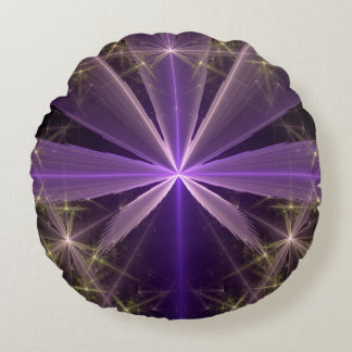 Violet Star Flower Abstract Fractal Round Cushion