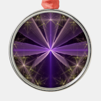 Violet Star Flower Abstract Fractal Silver-Colored Round Decoration