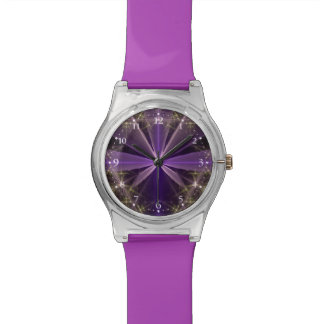 Violet Star Flower Abstract Fractal Watch