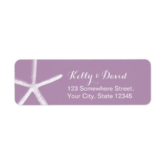 Violet Starfish Beach Wedding Return Address Return Address Label