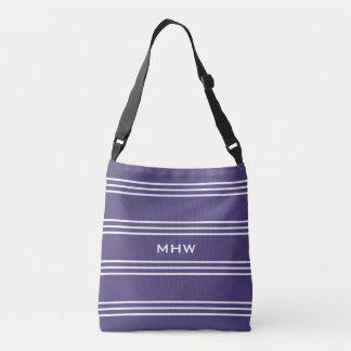 Violet  Stripes custom monogram bags