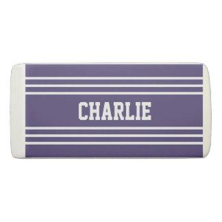 Violet Stripes custom monogram eraser