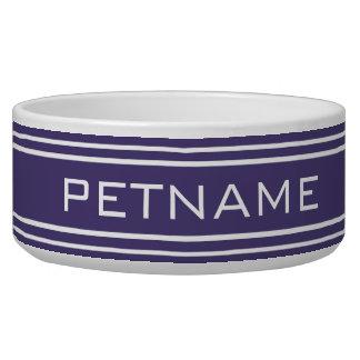 Violet Stripes custom monogram pet bowls