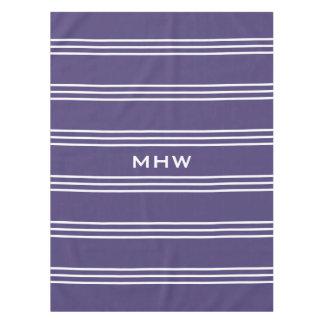 Violet Stripes custom monogram table cloths
