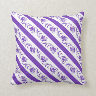 violet stripes floral pattern cushion