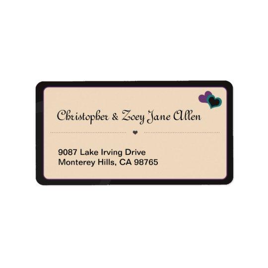 Violet & Teal Hearts White Address Label
