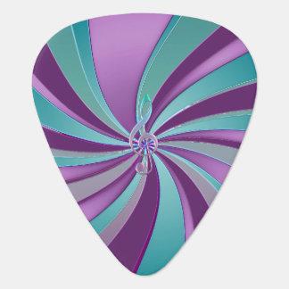 Violet Teal Swirl Music Clef Guitar Pick
