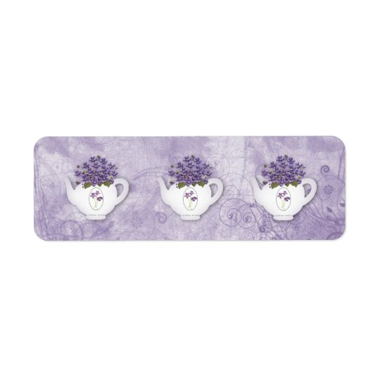 Violet Teapots Sticker Return Address Label