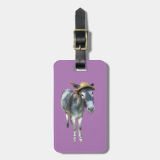 Violet the Donkey in Straw Hat with Flowers Luggage Tag