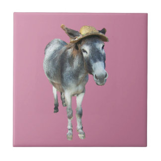 Violet the Donkey in Straw Hat with Flowers Small Square Tile