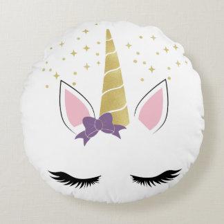 Violet the Unicorn Round Pillow