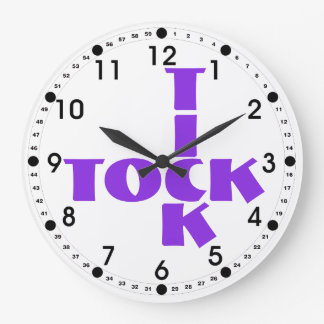 Violet Tick Tock Typography Crossword Style Large Clock