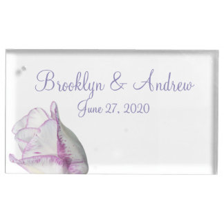 Violet Tulip Wedding Table Card Holders