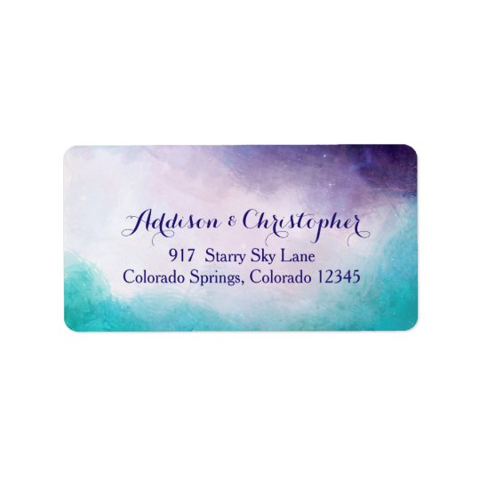 Violet & Turquoise Watercolor Personalised Address Label