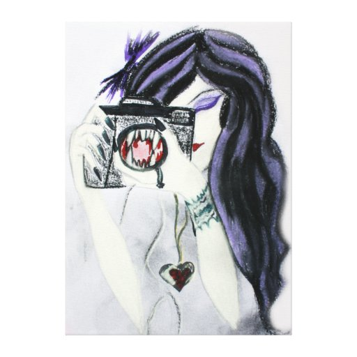 Violet Vampire Girl with Camera Canvas Stretched Canvas Prints