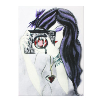 Violet Vampire Girl with Camera Canvas Gallery Wrap Canvas