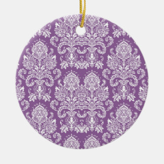Violet Victorian Damask Christmas Ornament