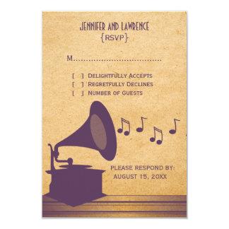 Violet Vintage Gramophone Response Card 9 Cm X 13 Cm Invitation Card